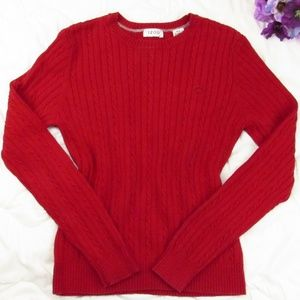 Izod Cable Knit Sweater Red Pullover
